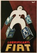 Vintage Italian car advertisement poster - Lubrificanti Fiat